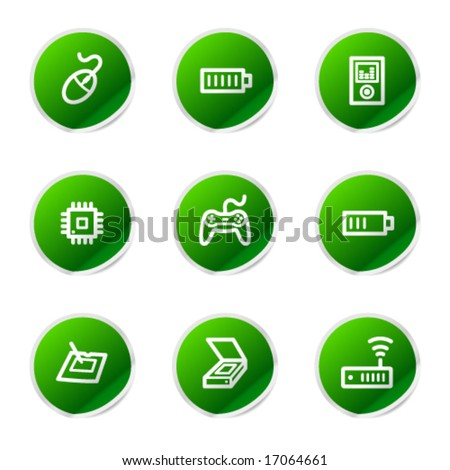 Electronics 2 web icons, green sticker series - stock vector