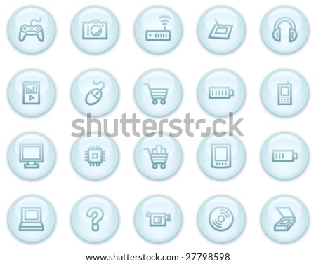 Electronics  web icons, light blue circle buttons series - stock vector