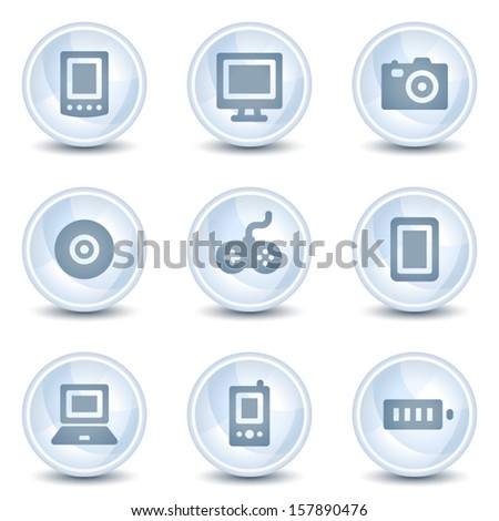 Electronics web icons, light blue glossy circle  buttons