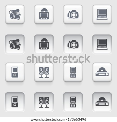 Electronics web icons on white buttons.