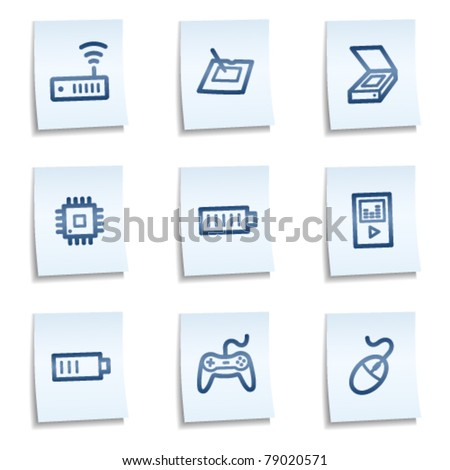 Electronics web icons set 2,  blue notes - stock vector