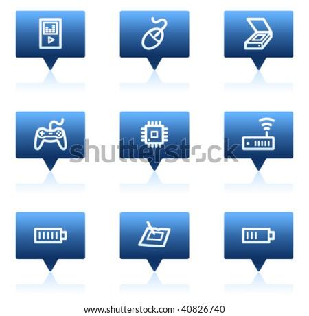 Electronics web icons set 2, blue speech bubbles sticker series - stock vector