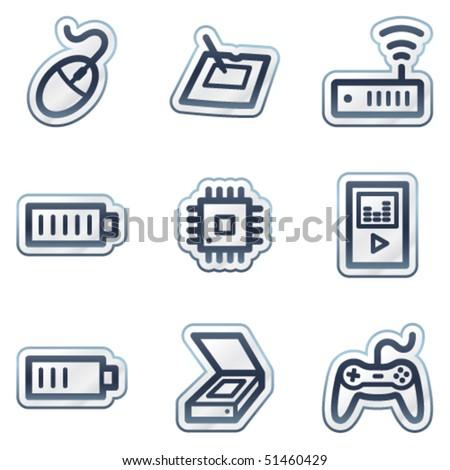 Electronics web icons set 2, deep blue contour sticker series - stock vector