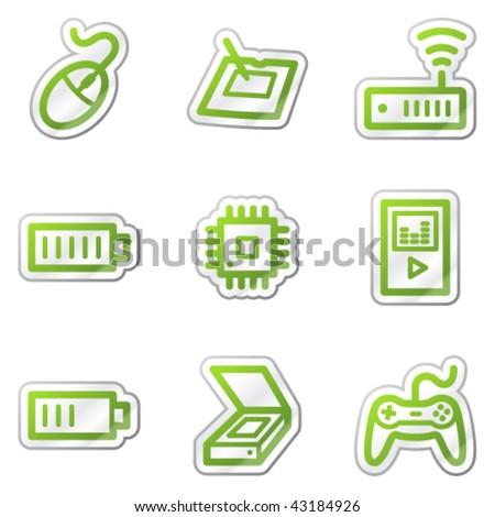Electronics web icons set 2, green contour sticker series - stock vector