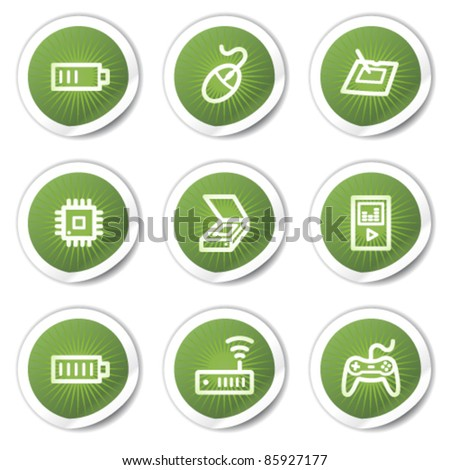 Electronics web icons set 2, green  stickers - stock vector