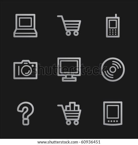 Electronics web icons set 1, grey mobile style - stock vector