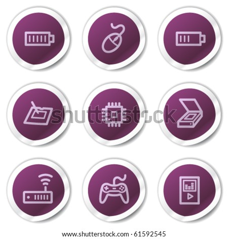 Electronics web icons set 2, purple stickers series - stock vector
