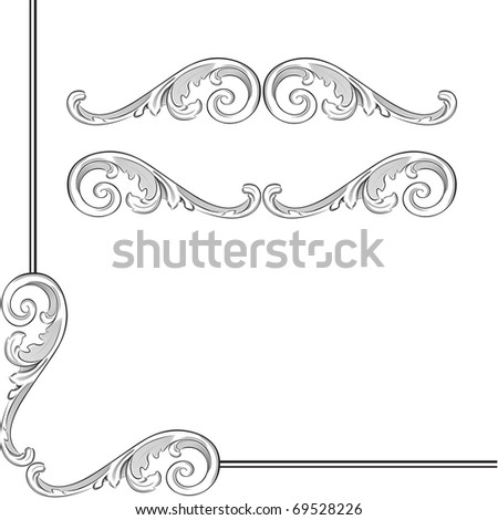 Elegance baroque elements for frame or ornament - stock vector