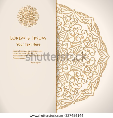 elegance card with half round lace ornament, mandala, for greeting, invitation card, or cover. Vector illustration - stock vector