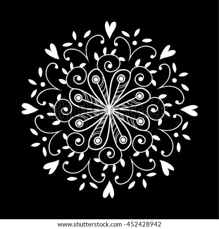 Elegance circular ornament isolated on white background. Hand drawn geometric design element. Abstract vector illustration for invitations, cards, flyers. - stock vector