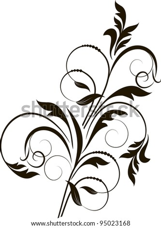 elegance decorative branch for design in retro styled - stock vector