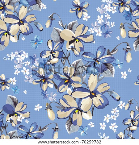 Elegance Exotic floral seamless pattern on canvas background, vector illustration - stock vector