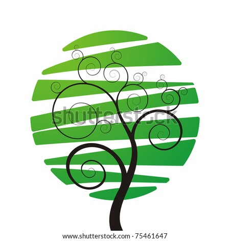 elegance green tree with place for your text - stock vector