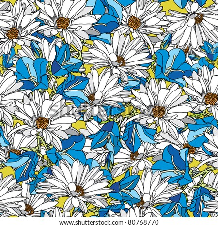 Elegance pattern with flowers chamomile, vector floral illustration in vintage style - stock vector