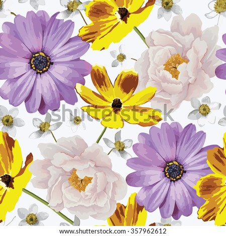 Elegance seamless color flower pattern on the white background. Background for web pages, wedding invitations, save the date cards. Flower vector background. EPS 10 vector. - stock vector