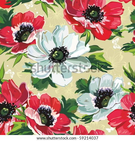 Elegance Seamless color flowers pattern on beige background, vector illustration - stock vector