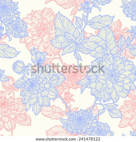 Elegance Seamless pattern with chrysanthemum flowers, vector floral illustration in vintage style - stock vector