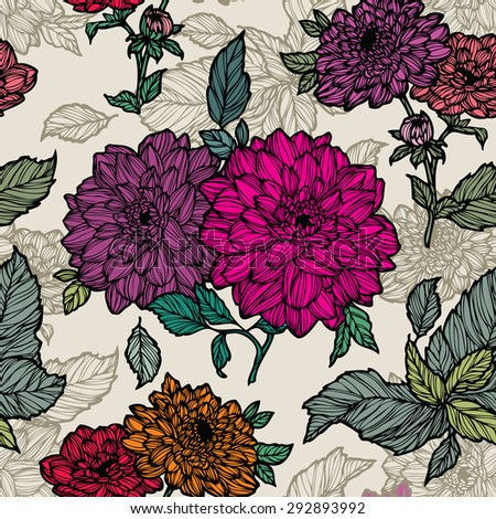 Elegance Seamless pattern with dahlias flowers, vector floral illustration in vintage style - stock vector