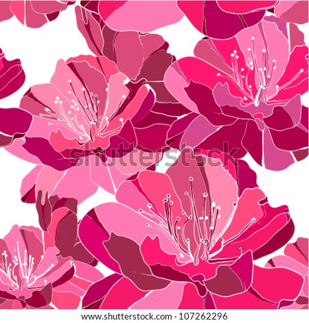 Elegance seamless pattern with flower peony. Vector illustration. - stock vector