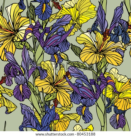 Elegance Seamless pattern with flowers narcissus and iris, vector floral illustration in vintage style - stock vector