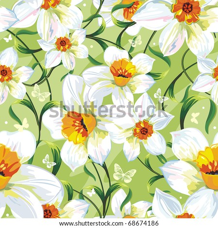 Elegance Seamless pattern with flowers narcissus on spring background, vector illustration - stock vector