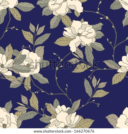 Elegance Seamless pattern with flowers rose and magnolia, vector floral illustration in vintage style. Rose bouquet - stock vector
