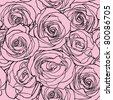 Elegance Seamless pattern with flowers rose, vector floral illustration in vintage style - stock