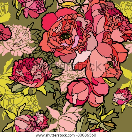 Elegance Seamless pattern with flowers rose, vector floral illustration in vintage style - stock vector