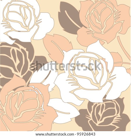 Elegance Seamless pattern with flowers roses - stock vector