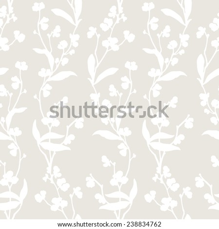 Elegance Seamless pattern with leaf ornament, floral vector illustration in vintage style - stock vector