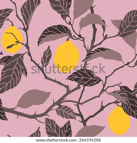 Elegance Seamless pattern with lemon tree ornament, vector floral illustration in vintage style - stock vector