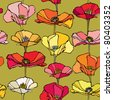 Elegance Seamless pattern with poppy flowers, vector floral illustration in vintage style - stock