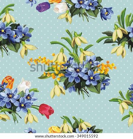 Elegance Seamless Snowdrop Pattern, vector illustration - stock vector
