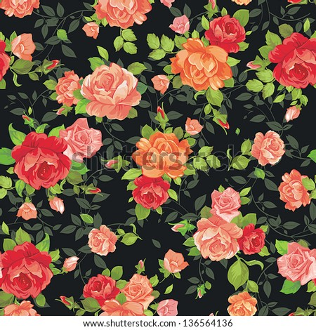 Elegance tiny rose�s seamless background, vintage vector illustration - stock vector