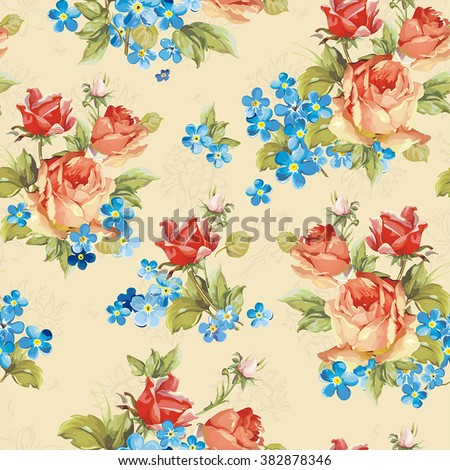Elegance vector illustration texture with roses and forget-me-not. Stylish beautiful floral seamless pattern - stock vector