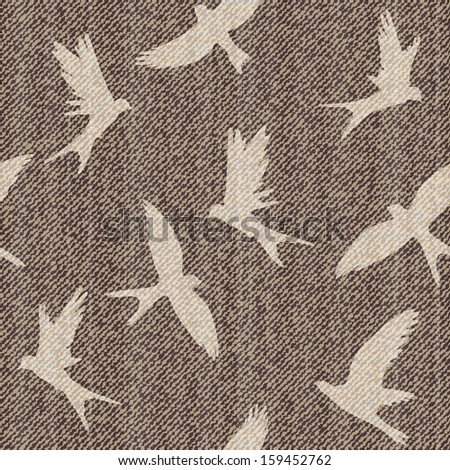 Elegance vector seamless pattern with jeans brids. - stock vector