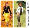 Elegant abstract woman - autumn concept. Vector illustration - stock photo