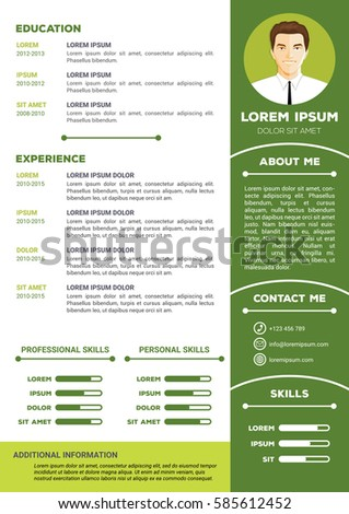 Elegant And Minimalistic Personal Vector Resume / Cv Template Idea Resume Background Image