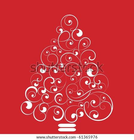 Elegant and simple flourish Christmas tree - stock vector