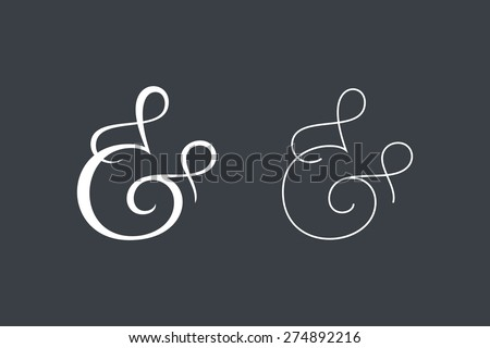 Elegant and stylish custom ampersands for print template, invitation or greeting card. Vector illustration - stock vector