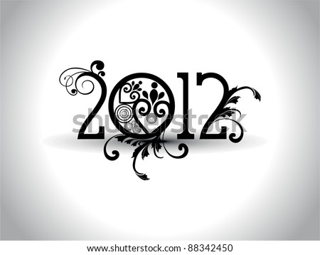 elegant & artistic work typography or stylish typeface for 2012 - stock vector