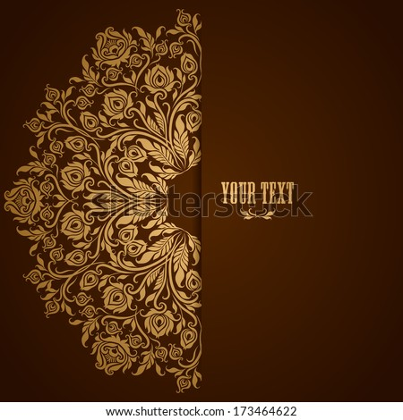 Elegant background with lace ornament and place for text. Floral elements, ornate background. Vector Illustration EPS10. - stock vector