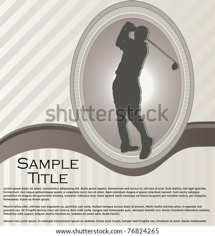 Elegant background with ornament frame and golf player silhouette - stock vector