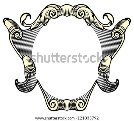 Elegant baroque ornate. Curves engraving frames - stock vector