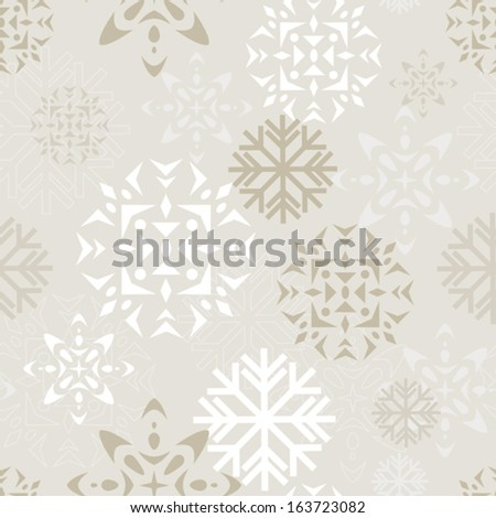 Elegant beige and white background depicting various abstract snowflakes. Seamlessly repeatable. Eps 8 Vector. - stock vector