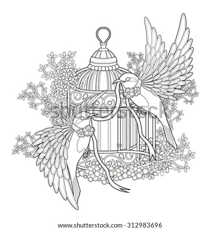 elegant bird coloring page in exquisite style - stock vector