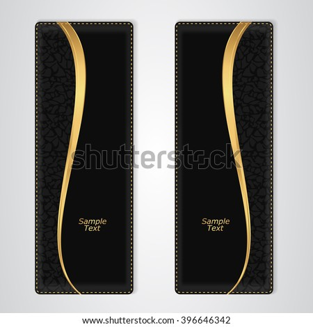 Elegant black leather vertical banner with the gold stripe. Vector - stock vector