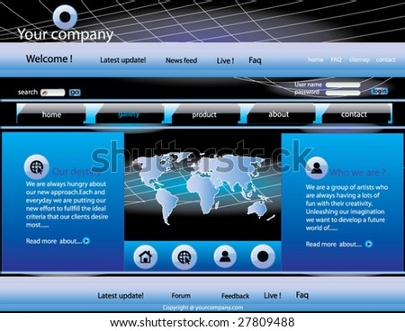 Elegant blue Business class web page template for your site .Very easy to edit. - stock vector