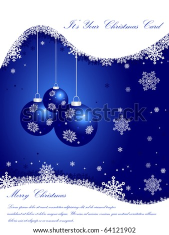 Elegant Blue Christmas Card - stock vector