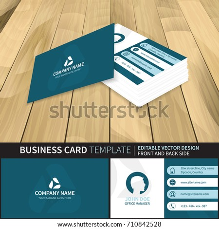 Elegant blue creative vector business card stock vector royalty elegant blue creative vector business card template with contact information design with front and back reheart Choice Image